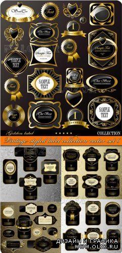 Стильные винтажные этикетки | Vintage styled label collection vector set 6