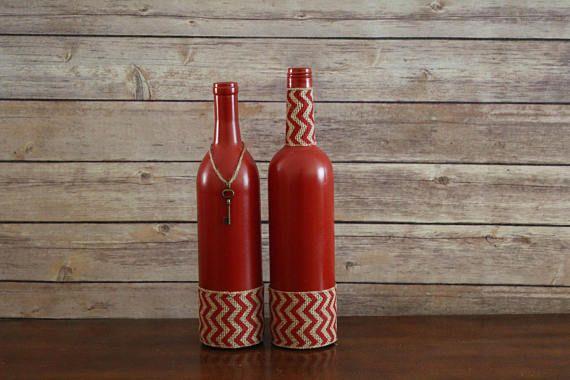 Wine Bottle Decor Red Chevron Burlap Ribbon Centerpiece