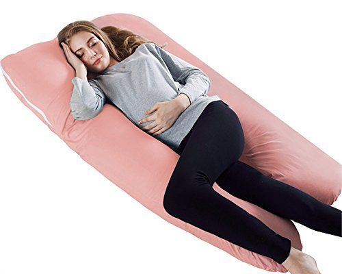 Queen Rose U Shaped Pregnancy Body Pillow with Zipper Removable Cover(Pink)