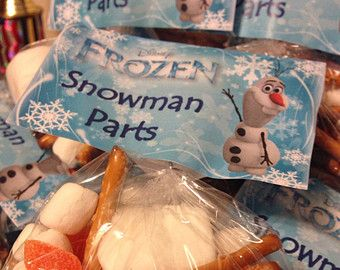 FROZEN Party Goodie Bag Topper - Snowman Parts - 4 Per Page PDF Download