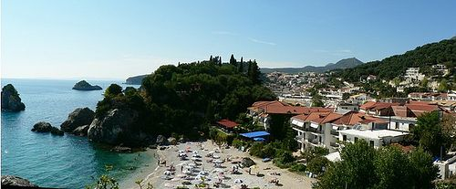 TOWN VIEWED ABOVE THE BEACH OF PISO KRIONERI - Parga