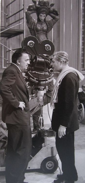"Federico Fellini With Marcello Mastroianni, on the set of ""8½""."