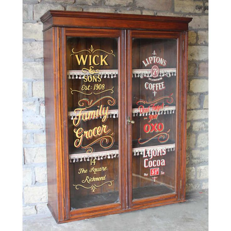 Antique Signwritten Mahogany Cabinet Antique Furniture
