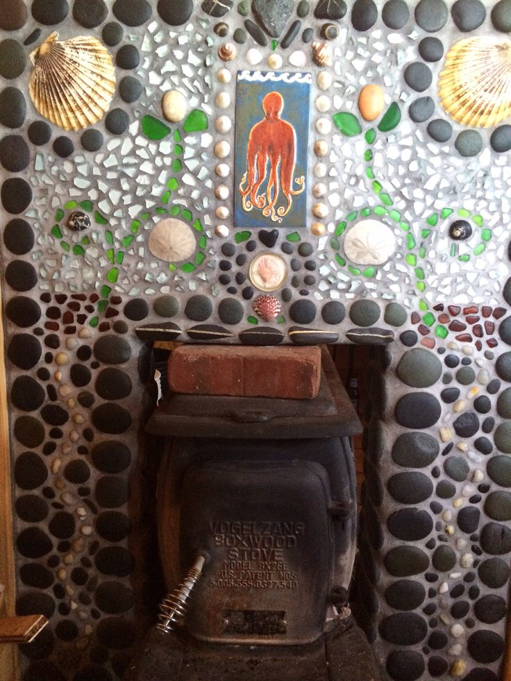 Stone and Tile mosaic in sauna entry
