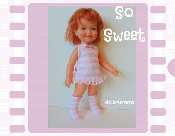 Vintage ideale kaneel Doll CLOTHES - Retro jurk en Mod laarzen roze strepen - handgemaakte Custom mode - door dolls4emma