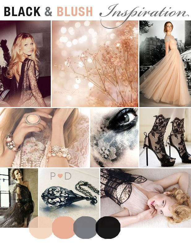 Inspiration: Black and Blush {A glamour-filled mood board inspired by Vera Wang at Bridal Fashion Week} by Pocketful of Dreams    Black, Black Wedding Dress, Blush, Bridal, bridal Fashion, Bridal Inspiration Boards, inspiration, lace, Mood boards, Pinks, Vera Wang Bridal, wedding