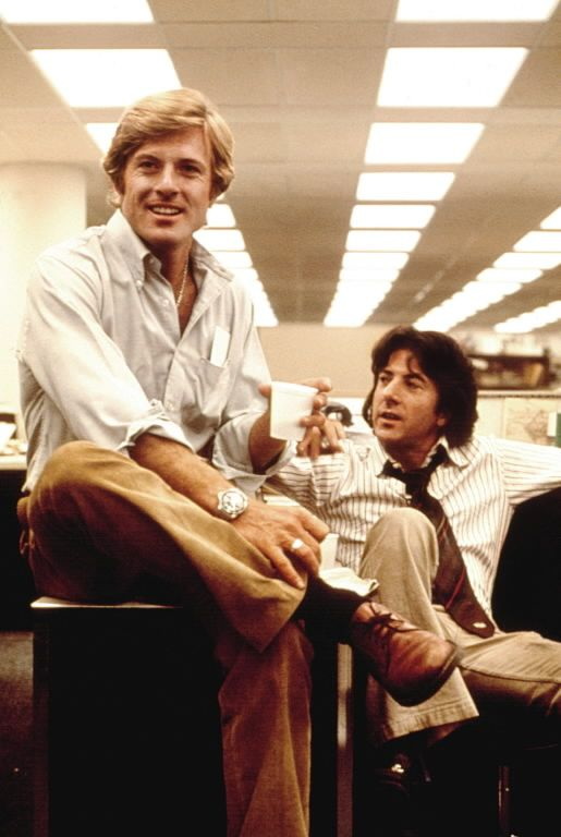 Robert Redford with Dustin Hoffman in All the President's Men,directed by Alan J. Pakula (1976)