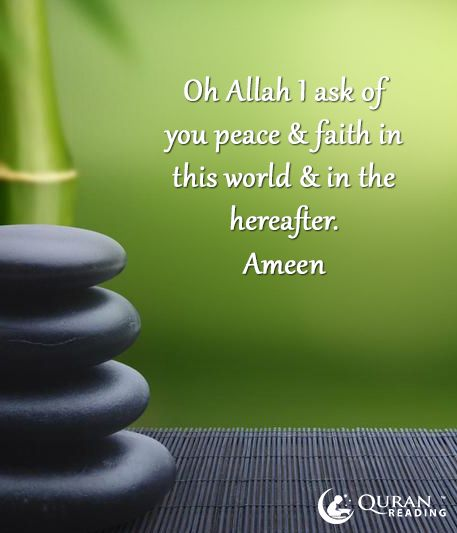 Oh Allah I ask of you peace & faith in this world & in the ... Quran Quotes About Peace
