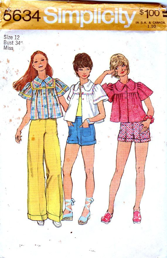 Simplicity 5634 1970s Misses Smock Top Wdie Leg Pants by mbchills