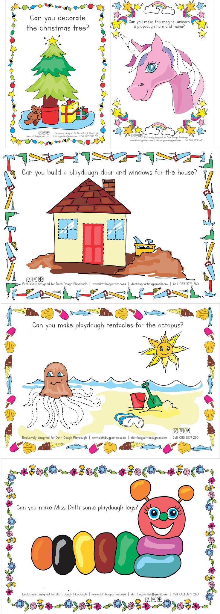 Play dough templates for little kids.  #illustration #unicorn #christmas #sealife #beach