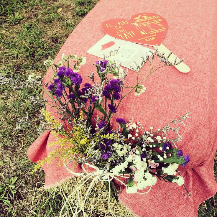 Heart shape fan wedding program and lavender to toss: must have for an outdoor summer wedding.