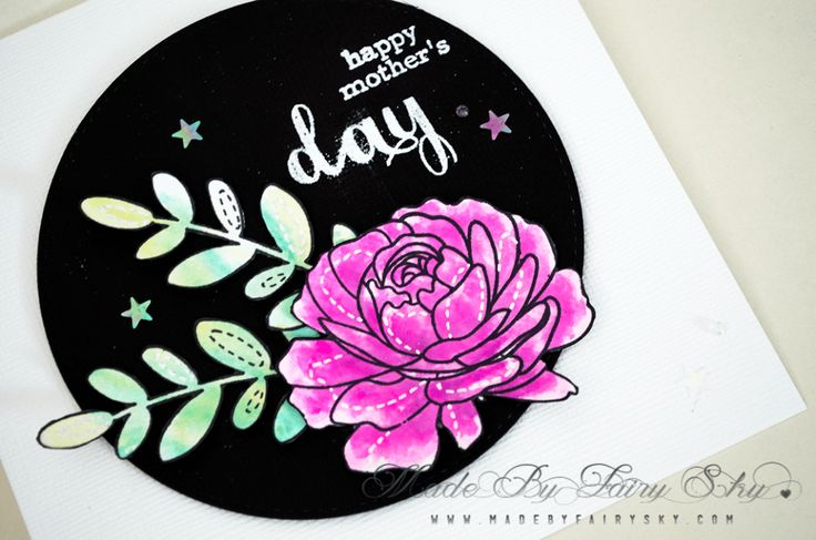 HM DAY – Made By Fairy Sky  ·•●★ Made By Fairy Sky ★●•·  www.madebyfairysky.com/blog/?p=10290  #mbfairysky #mbfscardmaking  Cardmaking, Coloring, Dies Cutting, Embossing, Watercolor, Clearly Besotted, Fête des mères, MBFairySky, My Favorite Things, Papercraft Challenge, Simon Says Stamp, Tombow USA