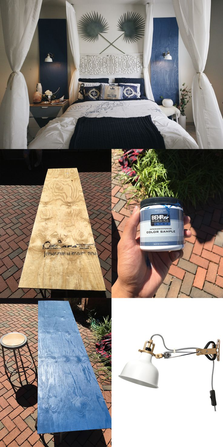 I just went to HomeDepot and bought an 8x4ft foot piece of plywood for $10, had them cut it lengthwise for two 8x2ft boards. I then bought paint samplers, as each covers 16-20 sqft I mixed it with a tad of water to create more of a wash or stain, just one layer with a roller. Used two IKEA Ranarp lamps, mounted them 5.5 feet up, and drilled a large enough hole under them for the cable to run back behind the boards. Leaned them up about 6 inches from the wall, Viola, Accent Panels