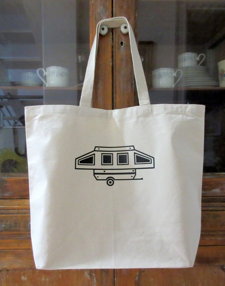 Pop Up Camper Canvas Shopping Tote Trailer Pup