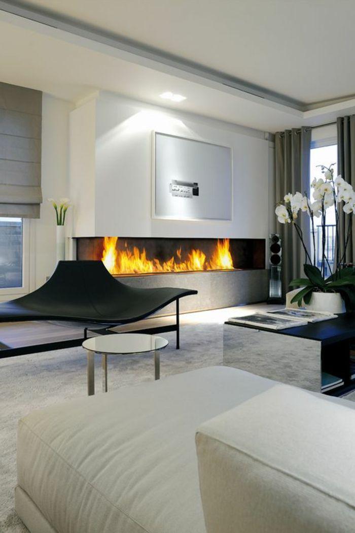 deco salon contemporain, cheminée performante, grande ...