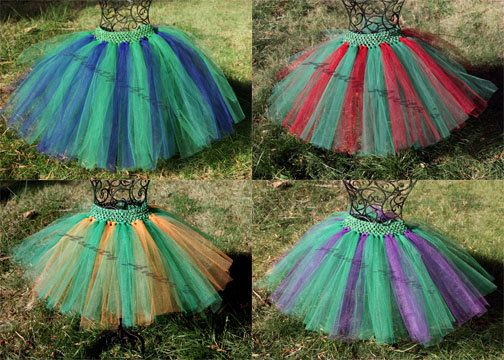 Teenage Mutant Ninja Turtle tutus in your choice of colors.  Leonardo = Blue and Kelly Green  Raphael = Red and Kelly Green  Michelangelo = Orange