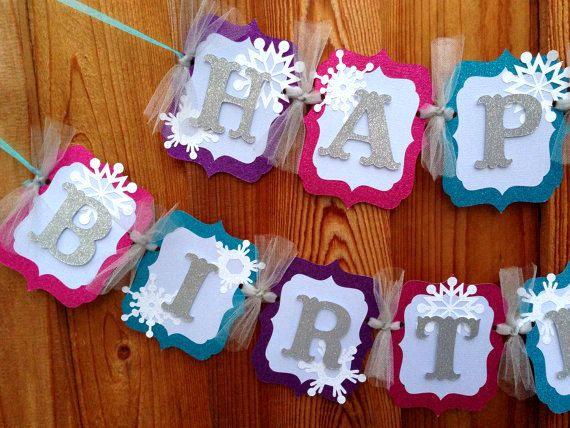 Frozen banner HAPPY BIRTHDAY party by CelebrationBanner on Etsy