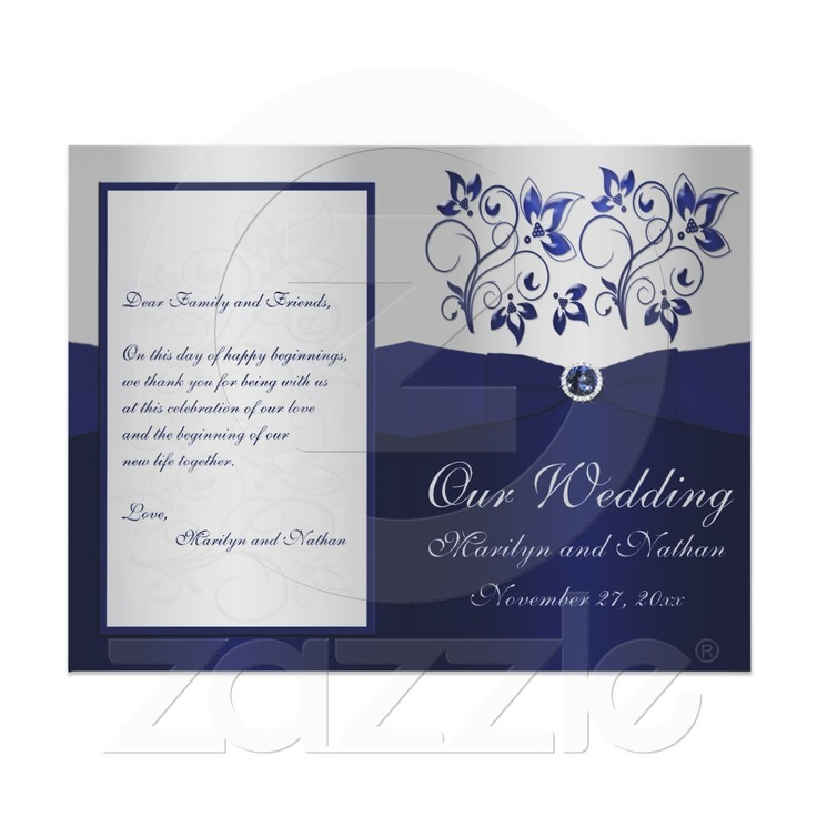 Navy and Silver Floral Wedding Program 21