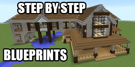 Get step by step blueprints for this house plus a bunch ... Minecraft Mansion Ideas Step By Step