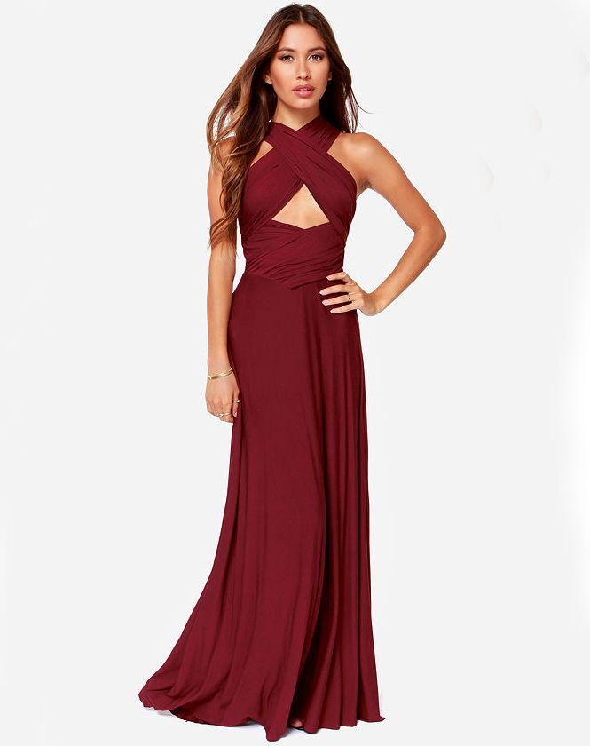 93b859643e Shop Wine Red Backless Maxi Dress online. Sheinside offers Wine Red  Backless Maxi Dress   more to fit your fashionable needs. Free Ship…