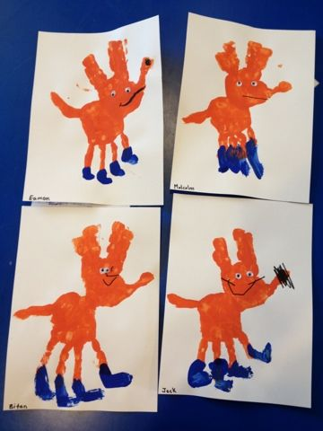 Fox in Socks handprint craft Dr Seuss Week