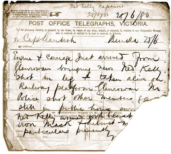 Capture Telegram de Ned Kelly