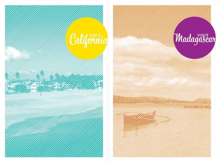 California and Madagascar travel posters