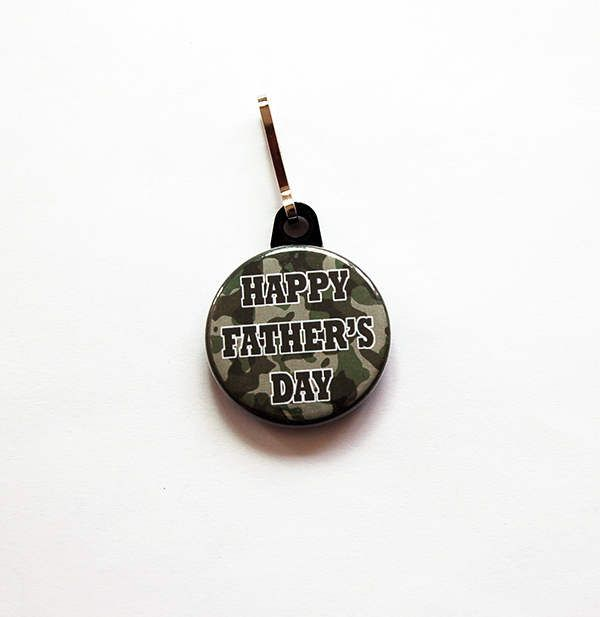 Happy Father's Day zipper pull, Camo zipper pull, bag charm, Stocking stuffer, gift for dad, fathers day gift, green, camouflage (7485) by KellysMagnets on Etsy