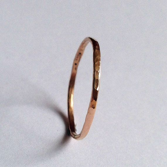 Rose Gold Thin Ring -18 Carat - Hammered Texture - Simple - Minimal - Solid - Wedding Band - Delicate - Plain  - Rose Pink Red Gold - Unisex on Etsy, £88.00