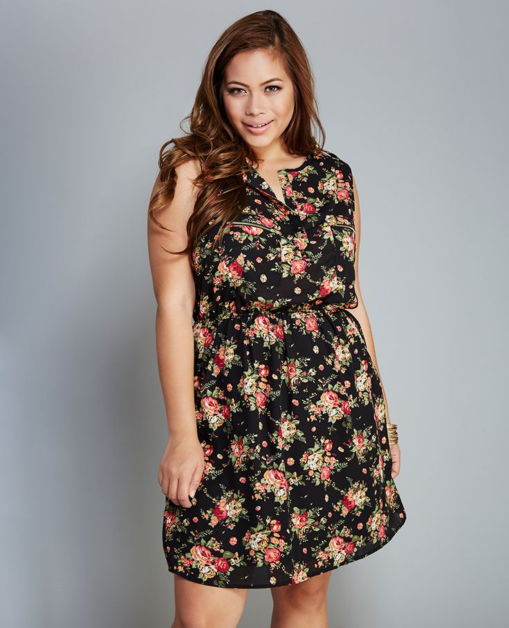 Floral Print Zip-Pocket Dress Floral Print Zip-Pocket Dress