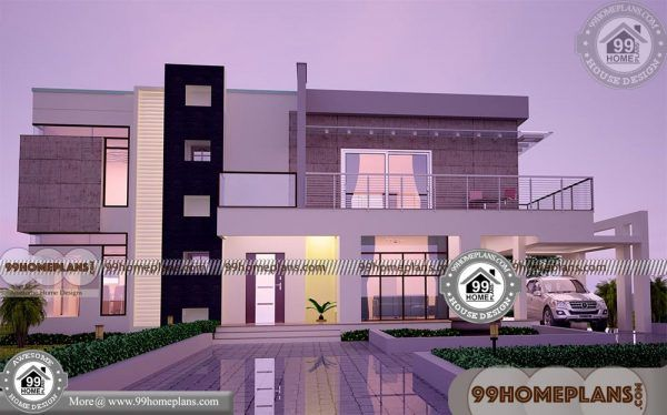 Two Story Rectangular House Plans With 3d Elevations Low Cost
