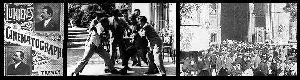 El cinematógrafo llegó a España el 15 de mayo de 1896 con la primera proyección de los operarios de la fábrica Lumière en Madrid.  Las primeras grabaciones tienen más bien un carácter documental, durando escasos minutos, donde se pueden ver acontecimientos y otras costumbres populares. La filmación propiamente española fue  la 'Salida de la misa de doce del Pilar de Zaragoza'  (1896)