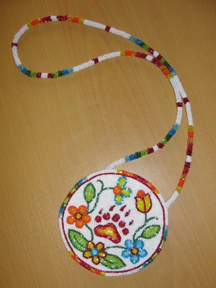 Ojibwe Floral Bear Clan Medallion by Daniel Vallie