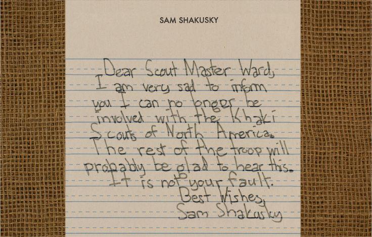 letter to the scout master...Film, Sam Resignation, Moonri Kingdom Letters, Wes Anderson, Khakis Scouts, Sam Shakusky, Scouts Master, Sam Letters, Moonrise Kingdom