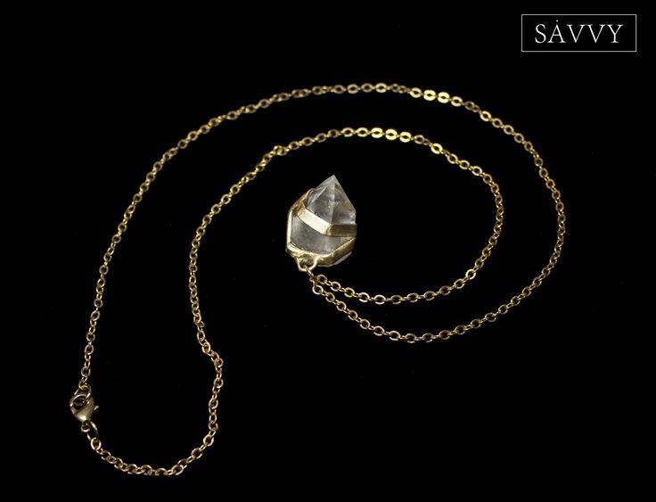 Crystal necklace // brass  SAVVY jewellery, Poland  https://www.facebook.com/SAVVYjewellery