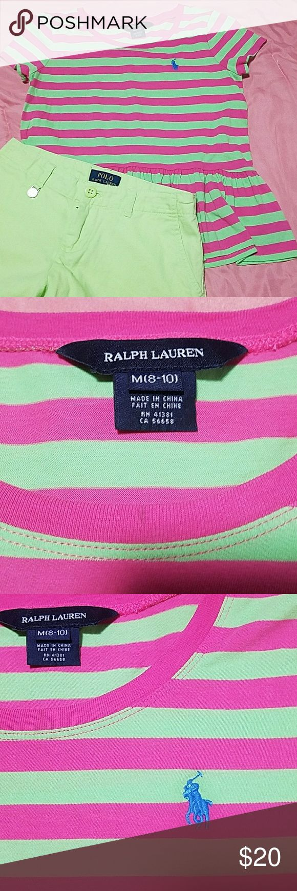 Set Ralph Lauren shirt & shorts size medium Cute green/pink striped baby doll shirt. Ralph Lauren size medium 8-10.  Lime green shorts size 10. Ralph Lauren. Ralph Lauren Matching Sets