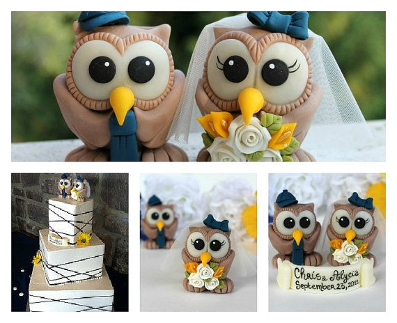 Custom wedding cake topper, brown owl cake topper personalized with banner via Etsy