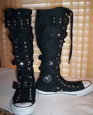 Women's converse high top shoes all star black/white silver studs back zipper
