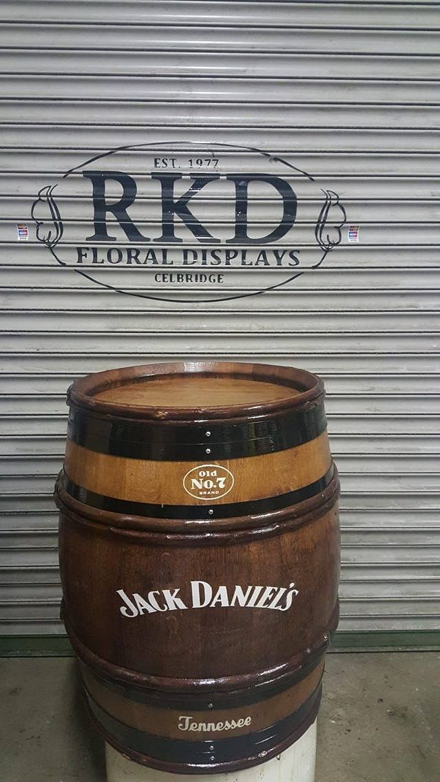 Jack Daniel's wine barrel branded By RKD Floral Displays