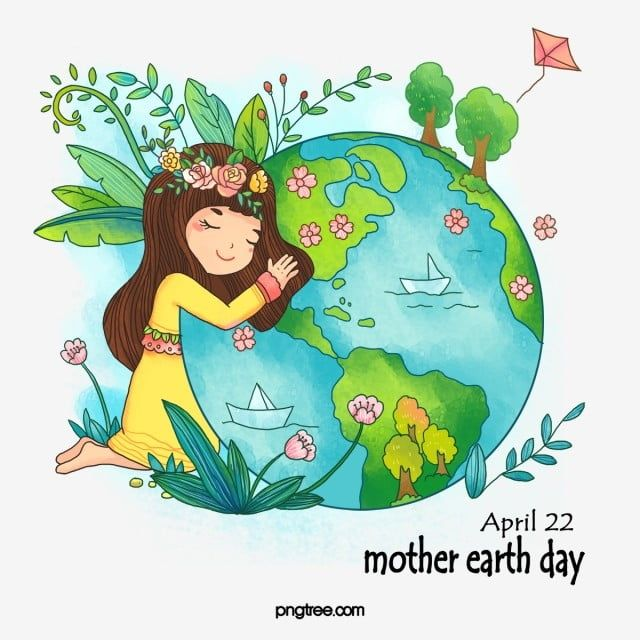 Hand Drawn Cartoon Beautiful Earth Day Earth Day Clipart Girl Plant Png Transparent Clipart Image And Psd File For Free Download Earth Day Drawing Mother Earth Drawing Earth Drawings
