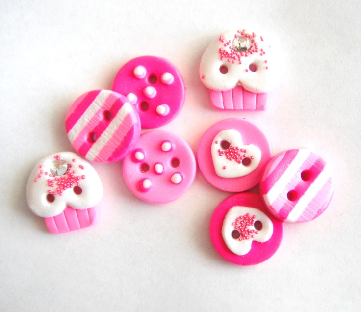 Button Pink Cupcakes handmade polymer clay buttons ( 8 ). $10.00, via Etsy.
