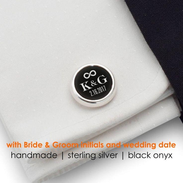 Personalized Wedding Cufflinks,Custom Cufflinks,Groom Wedding Cufflinks,Date and Initials Cufflinks,Engraved CuffLinks,Infinity Symbol by ZaNaDesignEtsy on Etsy