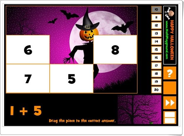 """""""Halloween puzzle addition"""" es un juego, de mathplayground.com, en el que hay que componer un puzzle situando cada pieza en el número que es resultado de una suma dada. Con sumandos a elegir que no superen el 10, 11, 12, etc., hasta el 20 por lo que pueden jugar niños de Educación Infantil y de 1º de Primaria."""