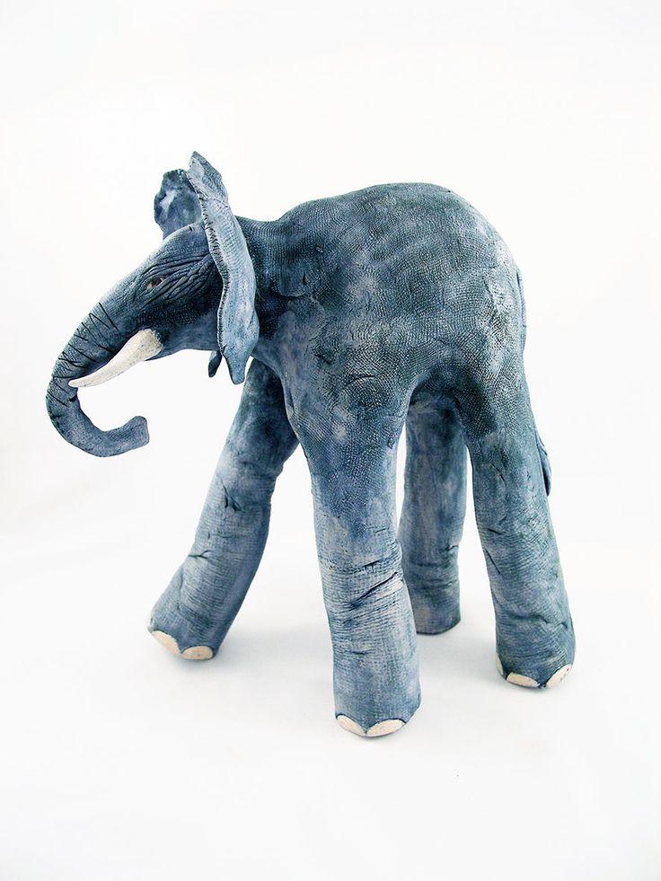 'Henry' Hand built ceramic elephant.