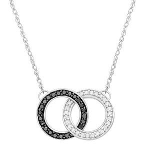 Black and White Diamond Linking Circle Necklace in Sterling Silver