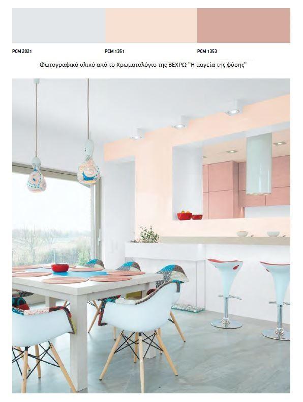 Χρωματα για κουζινα,3  απαλές , παστέλ αποχρώσεις συνδυάζονται μεταξύ τους για να δημιουργήσουν μια πρωτότυπη κουζίνα σε μινιμαλ στυλ.