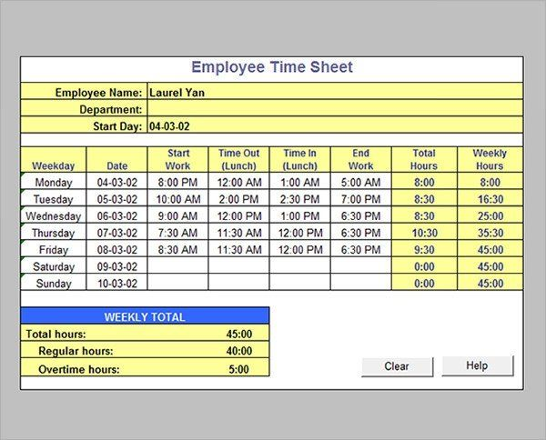 Excel Formula For Timesheet Lovely Time Sheet Calculator Templates 15 Download Free In 2020 Timesheet Template Payroll Template Card Template