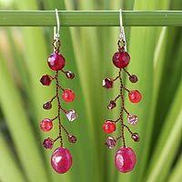 Beaded dangle earrings, 'Thai Roses'