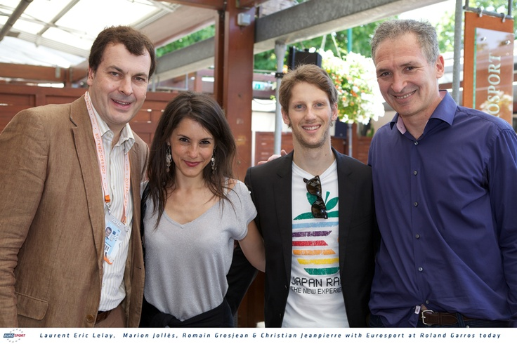 Eurosport CEO Laurent Eric Le Lay with French Formula 1 pilot Romain Grosjean and his girldfriend Marion Jollés, and TF1 journalist Christian Jeanpierre
