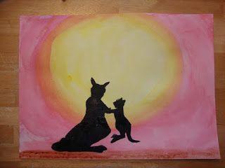 Art projects for kids-- Australia art; kangaroo silhouette